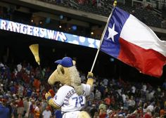 Texas mascot Rangers Captain breaks out the broom after the final out of Texas' 4-3 win to sweep the series with the Astros during the Houston Astros vs. the Texas Rangers major league baseball game at Globe Life Park in Arlington on Wednesday, August 5, 2015. (Louis DeLuca/The Dallas Morning News)