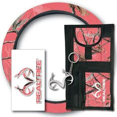 The Realtree Pink Auto Value Pack includes 1 neoprene steering wheel cover, 1 Realtree decal, 1 visor organizer and 1 key chain. Camo Car Accessories, Truck Accesories, Pink Truck, Girly Car, Chevy Girl, Car Essentials, Truck Decals, Cute Cars, My Ride