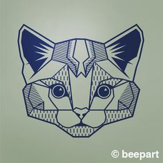 geometric cat wall decal cat art abstract feline wall by beepart