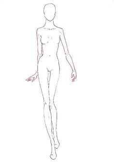 Croquis of a walking fashion model Illustration Tutorial, Illustration Sketches, Fashion Illustrations, Fashion Design Sketches, Sketch Design, Design Art, Fashion Poses, Fashion Art, Fashion Dresses