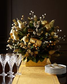 Golden Christmas Centerpiece at Neiman Marcus.