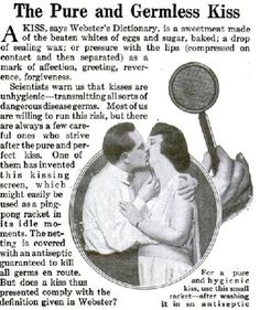 1920's ad for kissing screen lol