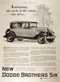 1929 Dodge Brothers 5 Passenger Brougham Sedan original vintage ad. Anticipating the needs of the woman who drives. New Dodge Brothers Six. Original MSRP started at $1,275, f.o.b. Toronto.