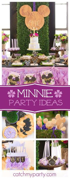 You really don't want to miss this gorgeous Minnie Mouse birthday party!! The dessert table is so beautiful!!! See more party ideas and share yours at CatchMyParty.com