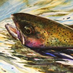 RAINBOW TROUT Watercolor Print by Dean Crouser. $45.00, via Etsy.