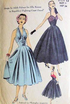 RARE 1950s EVENING HALTER DRESS PATTERN DESIGNER ADELE PALMER for MOVIE STAR ELLA RAINES ADVANCE PATTERNS 5891