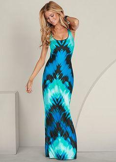 Get lost in a sea of blue! Venus teal tie dye maxi.