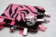 Minky Binky Blankie 18x18in - Hot Pink Zebra on Etsy