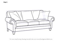 Learn How to Draw Sofa (Furniture) Step by Step : Drawing Tutorials (Drawing Step Awesome) Plywood Furniture, Drawing Furniture, Painted Bedroom Furniture, Sofa Furniture, Furniture Design, Furniture Sketches, Rustic Furniture, Outdoor Furniture, 3d Drawing Techniques