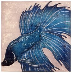 Ralph Kiggell, Blue Fish, 2000, woodblock print