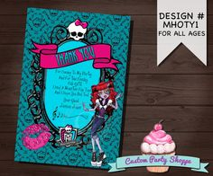 MONSTER HIGH Birthday Thank You Card, Custom Party Shoppe, Monster High Decorations, Diy Printable File, Custom Party Shoppe