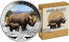 Tuvalu 2012 Wildlife in Need #4 - Black Rhinoceros and Baby Calf - Endangered Species $1 Pure Silver Dollar Proof with Color