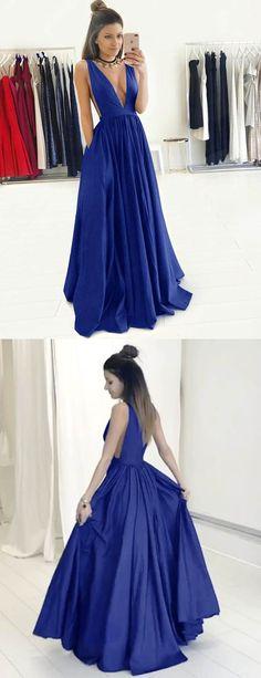 Royalblau Tiefer V-Ausschnitt Rückenfrei Bodenlang Ballkleid mit Falten und Taschen