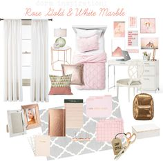 The Lovely Side: Dorm Decor Week: Rose Gold & White Marble Inspiration Board Dorm Room Colors, Girls Bedroom Colors, Rose Gold Room Decor, Rose Gold Rooms, Teenager Zimmer Design, Teen Room Designs, Gold Bedroom, Teen Bedroom, Small Home Offices
