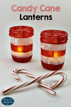 Candy Cane Lanterns are an easy-to-make holiday present idea that your children can make for their grandparents, teachers, and loved ones.