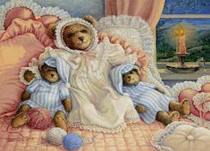 Sleepy Time Bears, a painting of a large bear with smaller ones on either side, all wearing nightgowns and hats for bed, one of the Janet Kruskamp Teddy Bear Gallery of original paintings by Janet Kruskamp Bear Paintings, Original Paintings, Oil Paintings, Watercolor Paintings, Teddy Bear Cartoon, Teddy Bears, Bear Gallery, Love Bear, Care Bears
