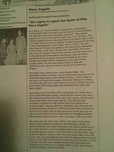 Mary Ingalls obituary