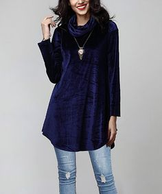 8cd00e1c2ef Navy Velvet Cowl Neck Tunic  zulilyfinds Latest Outfits
