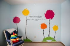 Getting Ideas together for Rosie's new bedroom :) She loves the lorax, and I love the meaning behind it so i figure that will go in this direction..