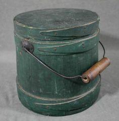 7.5in tall. Small Antique c1900 American Primitive Firkin Bucket, Original Green Milk Paint