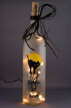 Lighted Halloween Wine Bottle Bottle of Boos Black Cat Frosted Glass Night Light Accent Lamp Recycled Lighting