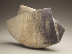 """Mihara Ken: Multi-fired """"folded"""" sculpture with surface colorations  2009 Stoneware 12 x 18 11/16 x 5 5/16 in."""