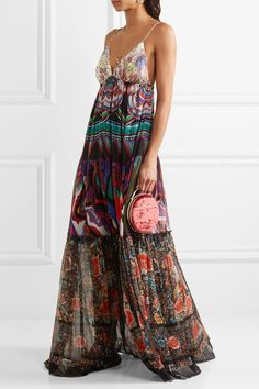 Roberto Cavalli - Printed Silk-georgette Maxi Dress - Purple - IT44