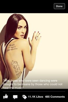 Megan fox tattoo (never settle for anything less than butterflies)