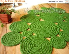 Flower Crochet Rug / Natural Jute Rug / Handmade Rug by GreatHome