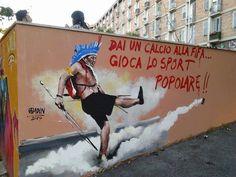 Grafite contra a Copa da Fifa feito no bairro Quadraro, em Roma, capital da Itália, histórico local da resistência antifascista no país. (via https://www.facebook.com/ProCorrupcao?fref=photo)