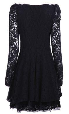 Black Long Sleeve Contrast Mesh Yoke Lace Dress