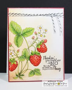Power Poppy - The Blog: Inspire Me Monday: Colouring Juicy Strawberries - MUST-SEE Video Tutorial (amazing!)