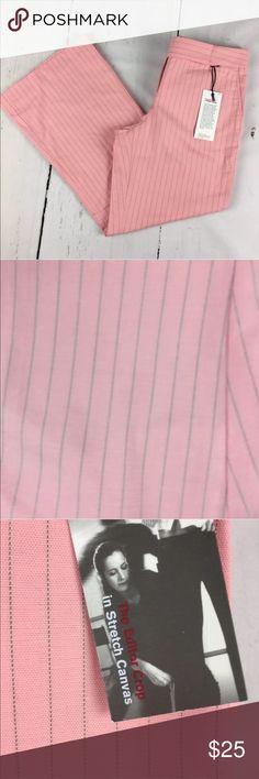 "Express pink cropped pants sz 2 NWT Express Pink striped cropped pants Size 2 waist laying flat-15"" 25"" inseam  NWT Express Pants Capris"