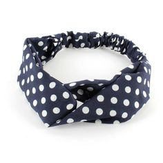 Stretch Headband Hairband Blue White Polka Spots Yoga Sports Twisted Front