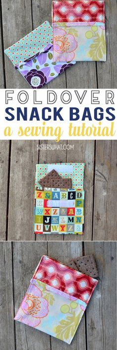 fold over reusable snack bags sewing tutorial