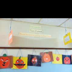Literacy Activity: This was a descriptive writing activity. I read the book , The Bumpy little Pumpkin, and then students created their own pumpkins and described them on the back. They broke up into pairs and read their descriptions to a partner and the partner tried to draw it and compared it to the original