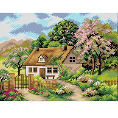 Cross Stitch House, Modern Cross Stitch, Diy Bead Embroidery, Cross Stitch Embroidery, Counted Cross Stitch Patterns, Cross Stitch Charts, Thomas Kinkade Art, Chicken Scratch Embroidery, Cross Stitch Landscape