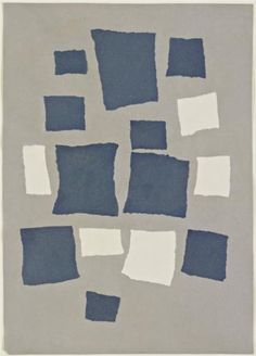 Collage with Squares Arranged According to the Laws of Chance - Jean Arp 1917 dada/surrealism. embraced chance as a tool for liberating creativity from rational thought. Frustrated with drawing he drew & would tear it up then lay scraps on floor