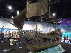 A scale miniature of the Black Pearl pirate galleon from Disney's Pirates of the Caribbean movies.