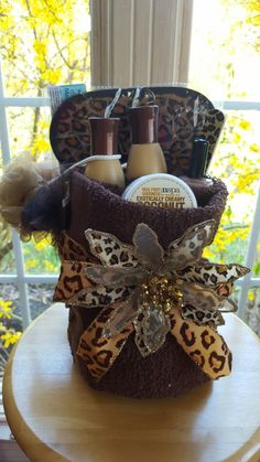 Cheetah Print Towel Spa Gift Basket Made By Norma's Unique Gift Baskets
