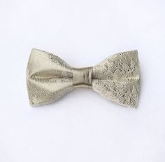 Gold bow tie. Floral lace bow tie groom's. by KristineBridal