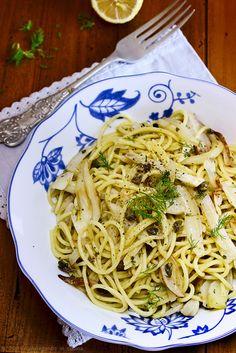 giroVegando in the kitchen: Spaghetti with caramelized fennel with lemon #Vegan