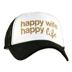 HAPPY WIFE HAPPY LIFE GLITTER TRUCKER HAT