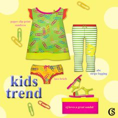 #kidtrends: Paper Clip print mixed with the alphabet stripe legging is trending in ej's room for the first day of May 2015. Get into the trend with CHIARIstyle for kids.