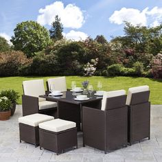 Barcelona Rectangular Grey Rattan Garden Furniture Table And 6 Chairs Dining Set Co Uk Kitchen Home Sets Pinterest