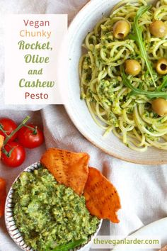 This yummy vegan dip recipe is also useful as a pesto. Made with fresh rocket, olives and cashews, you can dip it, spread it or swirl it through pasta. #vegan #dip #pesto Vegetarian Recipes Dinner, Delicious Vegan Recipes, Veggie Recipes, Delicious Dishes, Healthy Recipes, Nutritarian Diet, Pesto Dip, Healthy Snacks, Healthy Eating