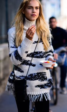 A fuzzy, fringed sweater for the win.
