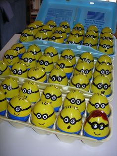 Did I mention I love minions? I used black permanent marker and made the eyes by hole punching through white sticker labels. You could fill them with math problems, sight words or science vocabulary. (or banana Runts candy!) That's me in the front row!