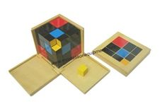 $32, 27 painted wooden cubes in a wooden box with a lid.