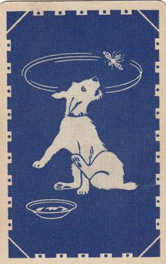 DOG chasing the BEE - 1 old linen  single vintage playing cards #Vintage